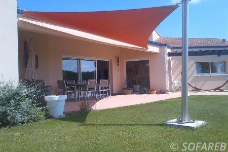 Voile d-ombrage orange terrasse et jardin