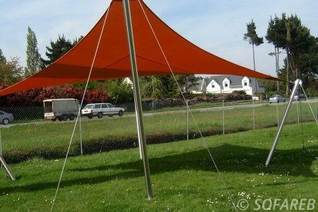 Voile d'ombrage orange jardin