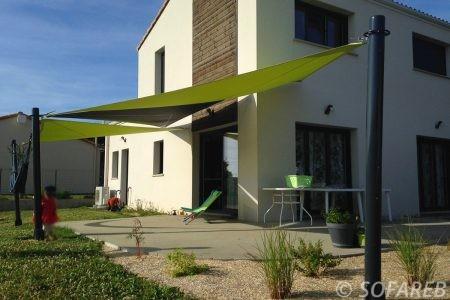 Voile d-ombrage Vert et noir terrasse-jardin