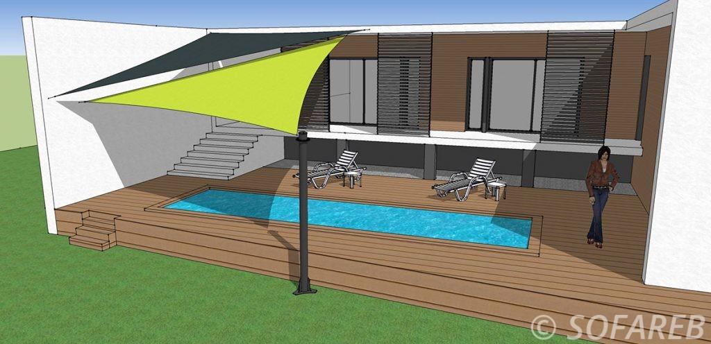 Plan 3D de lexterieur dune maison avec deux voiles dombrage vertes et noires au dessus dune piscine