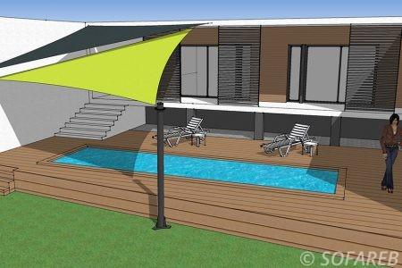 voile d-ombrage jaune et noir au dessus d-une piscine