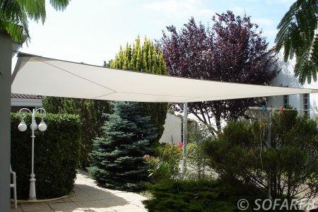 Voile d'ombrage blanc Sofareb terrasse