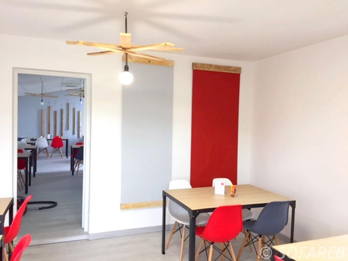 solution-acoustique-restaurant-lafolie-aizenay-particulier-décoration-intérieur-vendée-sofareb-vendée-entreprise-bâche-bache-baches-sur-mesure-qualité-surmesure-tissu-technique-professionnel