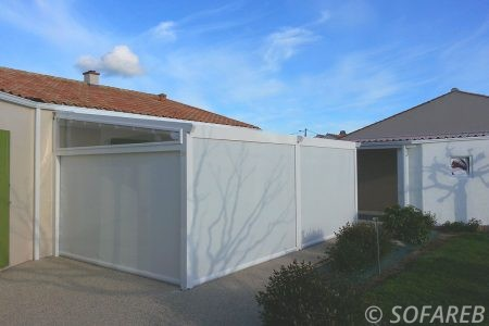 Velum blanc terrasse couverte intégralement