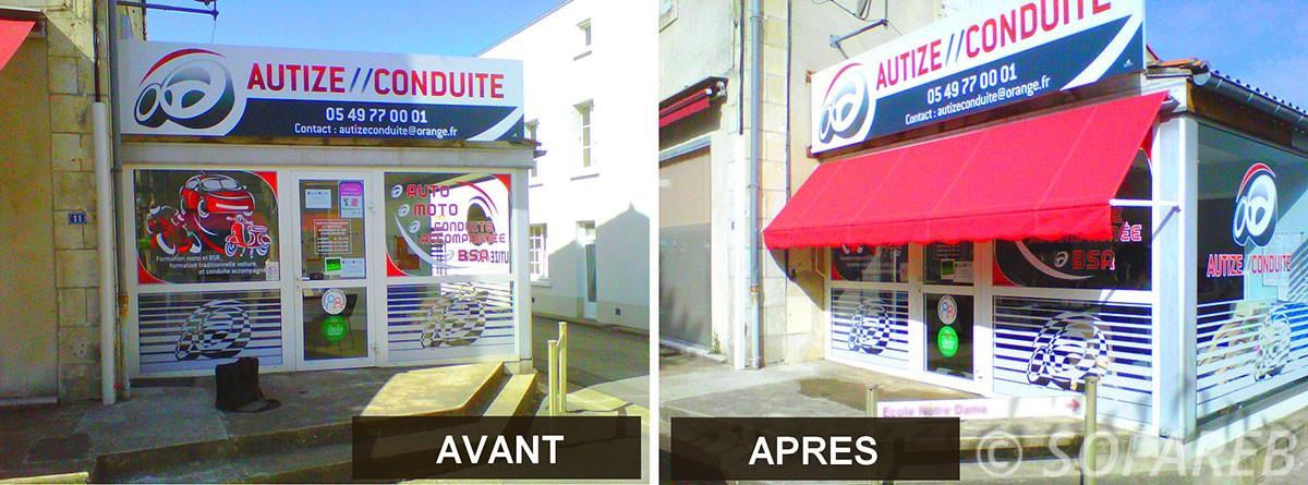 Store rouge exterieur et depliant - devanture magasin