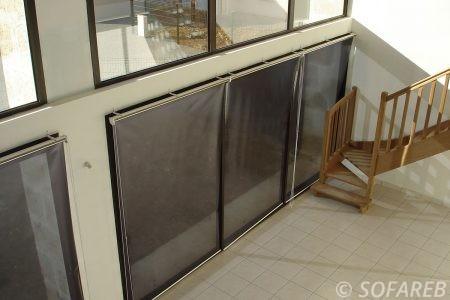 rideau store gris interieur ouvrable par les côtés - fabrication vendee store
