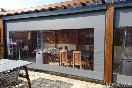 velum gris et transparent - vertical - pouvant s ouvrir et agrandir la terrasse