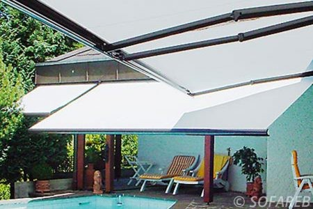 store blanc retractable - ombrage piscine