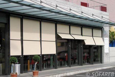 Store blanc verticale devanture restaurant